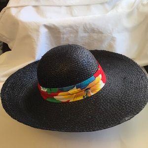 Wide Brim Black Straw Hat